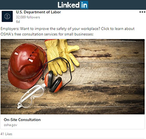 LinkedIn post: Employers: Want to improve the safety of your workplace? Click to learn about OSHA's free consultation services for small businesses: https://www.osha.gov/dcsp/smallbusiness/consult.html