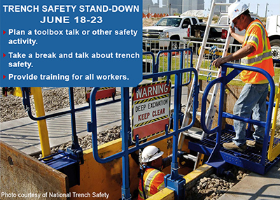 TRENCH SAFETY STAND-DOWN JUNE 18-23, 2018 Plan a toolbox talk or other safety activity. Take a break and talk about trench safety. Provide training for all workers.