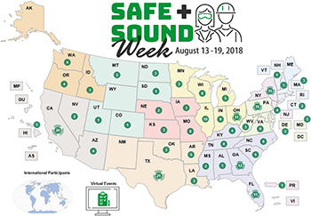 Map of organizations participating in Safe + Sound Week August 13-19.