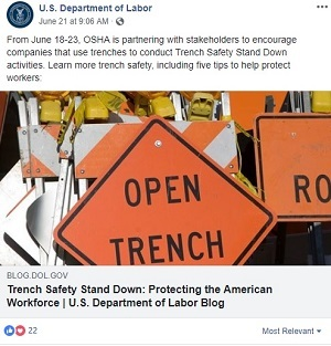 From June 18-23, OSHA is partnering with stakeholders to encourage companies that use trenches to conduct Trench Safety Stand Down activities. Learn more trench safety, including five tips to help protect workers: https://blog.dol.gov/2018/06/20/trench-safety-stand-down-protecting-american-workforce