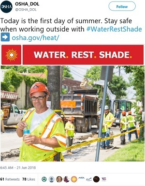 @OSHA_DOL: Today is the first day of summer. Stay safe when working outside with #WaterRestShade ➡️ https://www.osha.gov/heat
