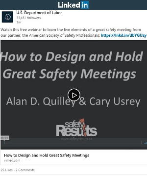 LinkedIn post: Watch this free webinar to learn the five elements of a great safety meeting from our partner, the American Society of Safety Professionals: https://lnkd.in/dbYGUzy