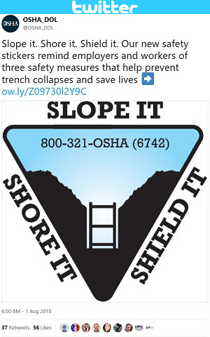 @OSHA_DOL tweet. Slope it. Shore it. Shield it. Our new safety stickers remind employers and workers of three safety measures that help prevent trench collapses and save lives ➡� http://ow.ly/Z09730l2Y9C