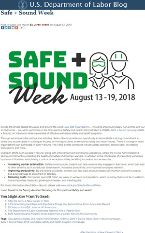 U.S. Department of Labor blog post on Safe + Sound Week by OSHA Deputy Assistant Secretary Loren Sweatt.