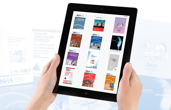 A tablet displaying a range of OSHA publications available in eBook format.