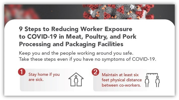 9 Steps to Reducing Worker Exposure to COVID-19 in Meat, Poultry, and Pork Processing and Packaging Facilities