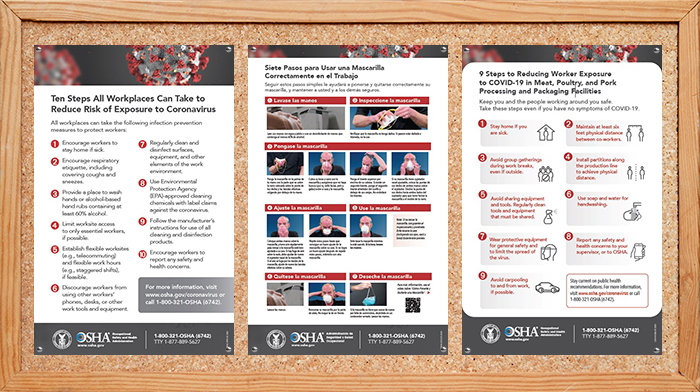OSHA offers free print copies of posters and guidance booklets with information on how to protect workers from the spread of coronavirus.