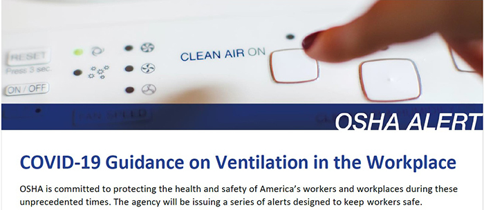 OSHA Alert: COVID-19 Guidance on Ventilation in the Workplace