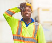 Construction worker in hot weather