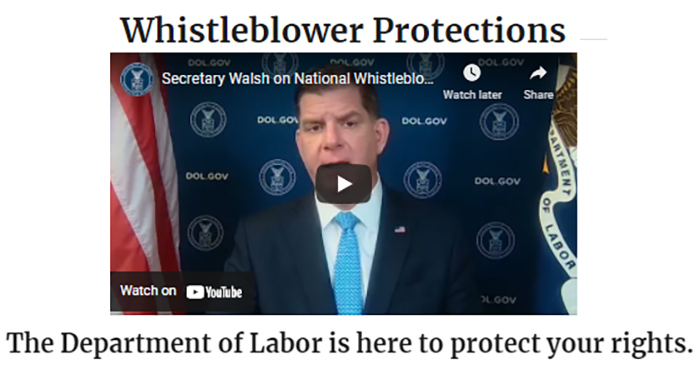The Department of Labor's Whistleblower Protection webpage