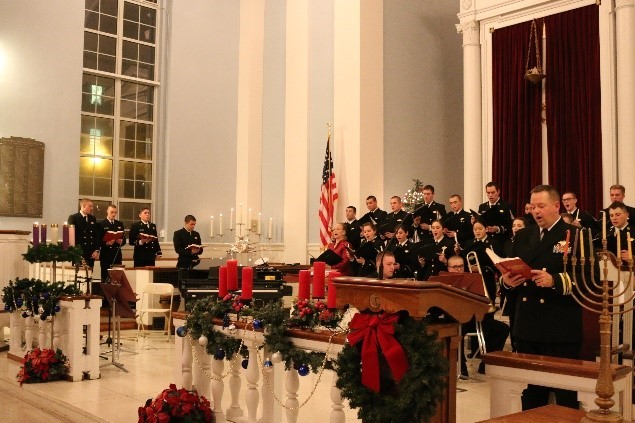 Chapel decorated for holidays