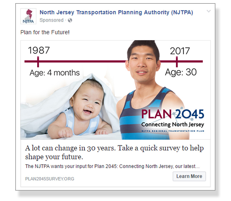 Online Ad used by NJTPA to encourage public engagement with PLAN 2045.