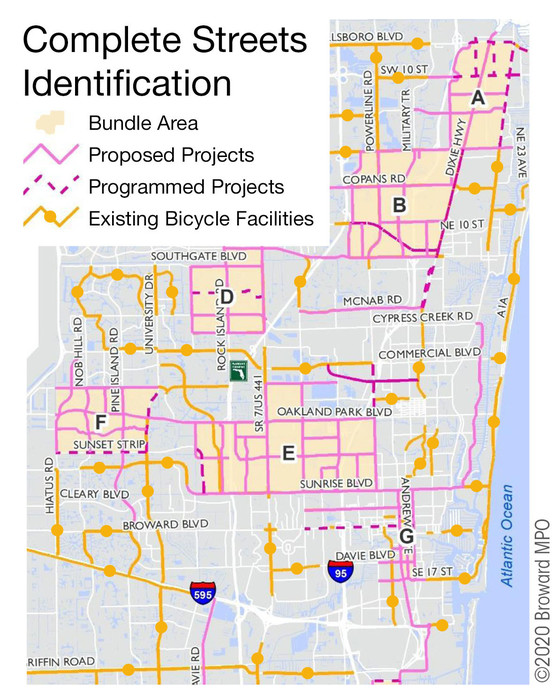 Broward MPO Complete Streets Master Plan, showing locations of proposed and programmed projects, bundle areas, and existing bicycle facilities.
