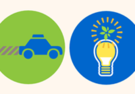 An graphic of a car with exhaust and a light bulb with a leaf.