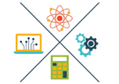 A graphic with a calculator, computer, atom, and gears.
