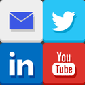 social media icons for email, Twitter, LinkedIn, and YouTube