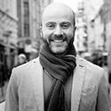 Jeff Risom wearing a scarf