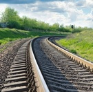 Rail tracks curving away