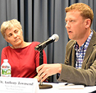Image of Robin Chase and Anthony Townsend giving a talk on Automated Vehicles and Urban Mobility.