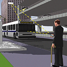 Image of vehicle to pedestrian wireless communication.