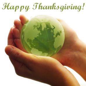 Happy Thanksgiving Green Globe In Hands