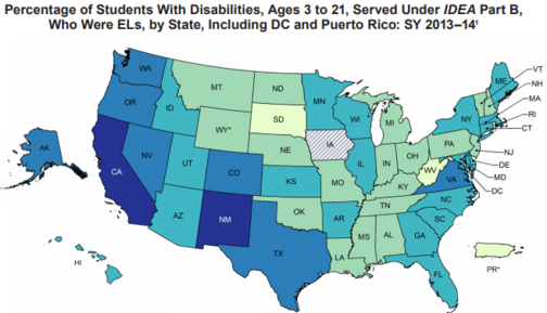 English Learner students with disabilities map