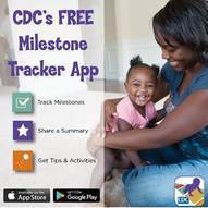 Woman and Child with text about CDC Milestone Tracker
