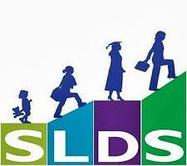 SLDS grant program logo - steps and figures ascending