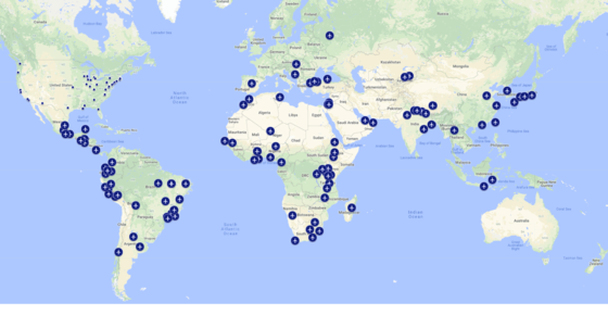 Google map of FY 2018 DDRA Grantees