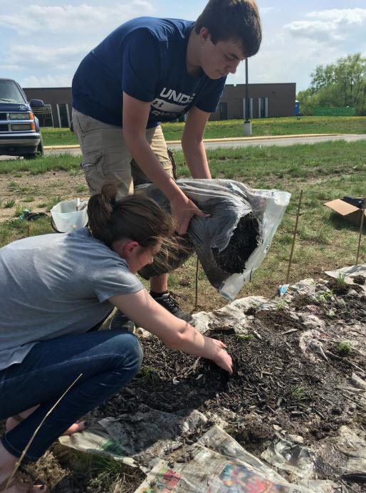 Forest Lake High School native prairie planting