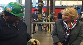 Education Secretary Betsy DeVos visits a skills-enhancement center near Houston, TX.
