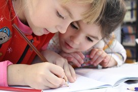 cute children drawing on paper