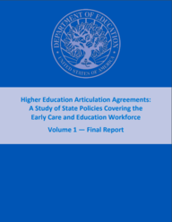 "Cover: ""Higher Education Articulation Agreements: A Study of State Policies Covering the Early Care and Education Workforce"""