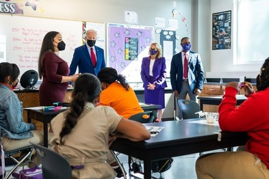 President Biden and the First Lady  visit a classroom in Washington D.C.