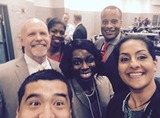 Assistant Secretary Williams, Julie Wenah and Breelyn Pete taking a selfie with a few members from the IMCP AgPlus community in California