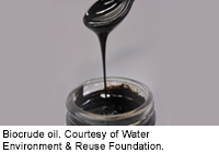 Biocrude oil, produced from wastewater treatment plant sludge, looks and performs virtually like fossil petroleum. Courtesy of Water Environment & Reu