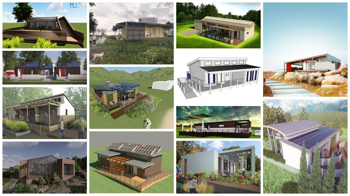 A photo collage of house designs by the teams competing in Solar Decathlon 2017.
