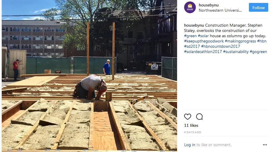 screen capture of an Instagram post showing construction progress