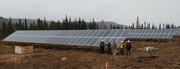 Solar panel installation in Hughes, Alaska.