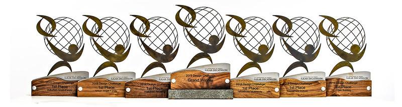 The award trophies of the Solar Decathlon Design Challenge.