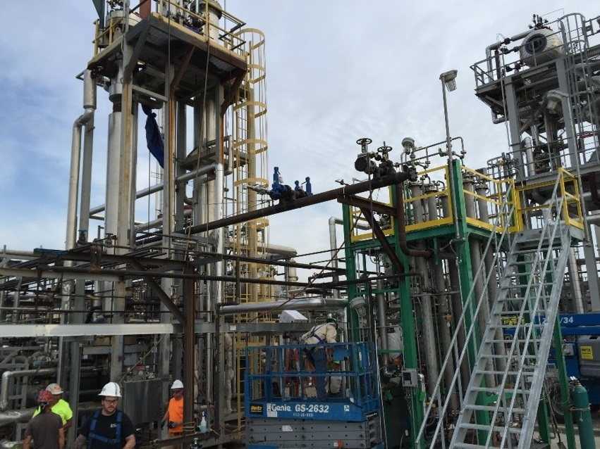 Alcohol-to-jet production units at LanzaTech Freedom Pines Biorefinery in Soperton, GA