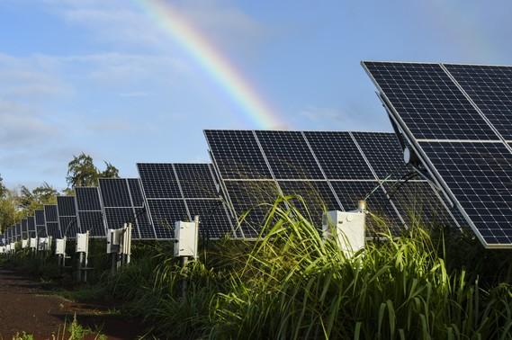 A 1.1-acre, 250-kilowatt PV array and battery-storage system on Kauai, Hawaii.