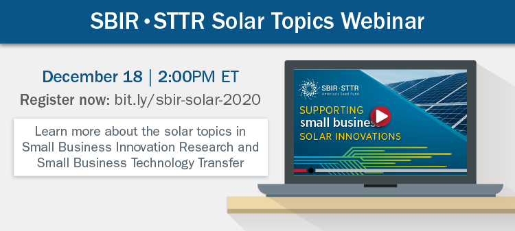 SBIR/STTR Webinar December 18 2PM ET