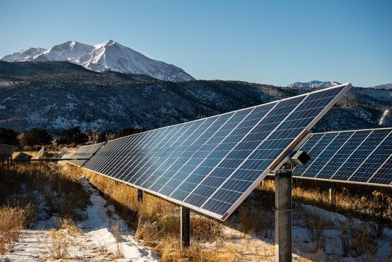 Mount Sopris in the background of the Sunnyside Ranch Community Solar Array