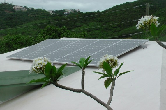 PV panels installed at the Montessori School on St. Thomas, U.S. Virgin Islands.