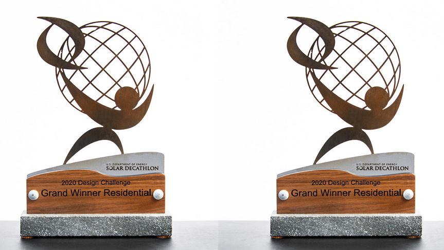 Two trophies from the solar decathlon design challenge