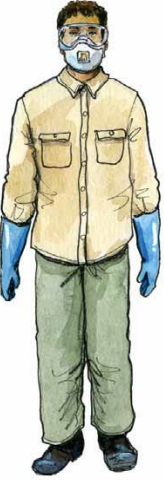 Drawing of a man in long pants, long sleeved shirt, work boots, gloves, goggles and and N-95 respirator.