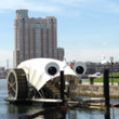Photo of trash wheel in Baltimore Harbor at Village Green project