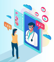Illustration showing patient talking with physician on tablet, and digital information