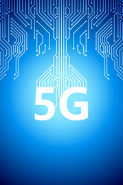 5G on blue high-tech background